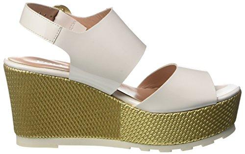 Pollini Damen 8231 Wedge Sandalen Multicolore (White Patent Pu-Gold Mesh Pv)