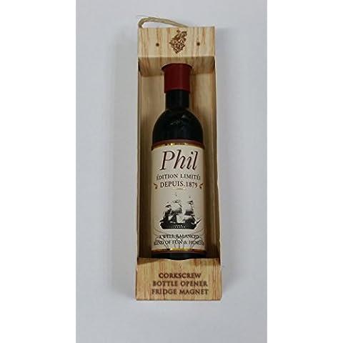Phil nome Magnete a forma di bottiglia di vino, apribottiglie, cavatappi, per regali, Natale, Ogni Occasione Effectz Sterling
