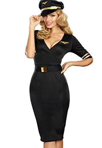 CMFashion Traumhaftes Damen Kostüm Stewardess Mittellang Schwarz 3-TLG.