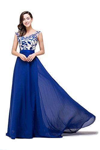 Babyonline® Damen Lang Mit Applikation Ärmellos Abendkleider Ballkleid Brautjunfernkleider Abschlussballkleider Blau