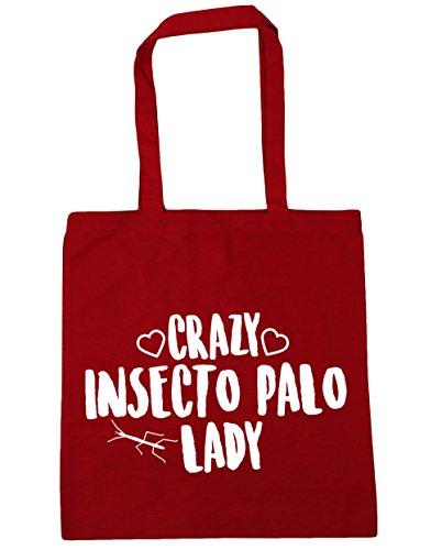 hippowarehouse-crazy-insecto-palo-lady-bolso-de-playa-bolsa-compra-con-asas-para-gimnasio-42cm-x-38c