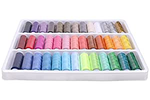 Luxbon Pack Of 39 Spools Rainbow Assorted Colour Colors Polyester Sewing Thread Box Kit Set Ideal For Quilting Stitching / Hand Sewing / Machine Sewing