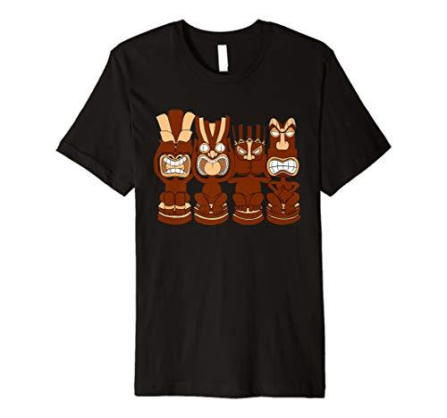 Sehen, hören, sprechen, Glaube, nicht Evil Tiki Gesicht Totem T-Shirt