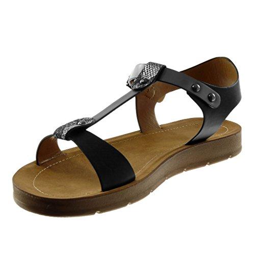 Angkorly Chaussure Mode Sandale Lanière Cheville Salomés Femme Peau de Serpent Lanière Clouté Talon Compensé 2 cm Noir