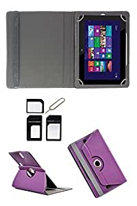 """Hello Zone Exclusive 360° Rotating 8"""" Inch Flip Case Cover Book Cover for Asus Memo Pad 8 ME581CL -Purple + Free Sim Adapter Kit"""