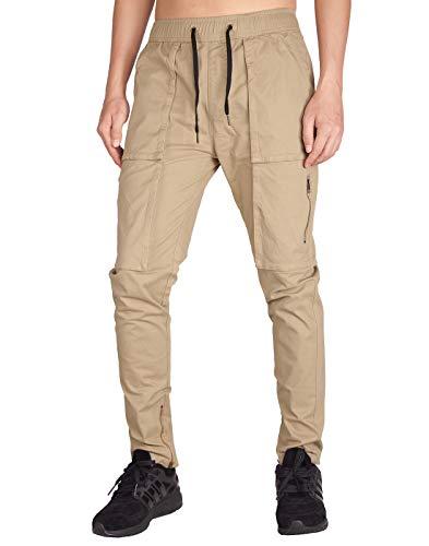 ITALY MORN Harem Pantalones De Cargo Hombre Deporte Chinos Pantalon Skinny  Joggers Casual Algodon Negro ( c404ce4d0a5