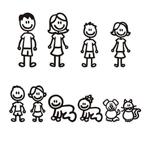 WOVELOT Familia Pegatinas 10 Piezas Auto Mascotas