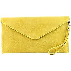 modamoda de - ital embrague/noche bolsa de gamuza T106, Color:amarillo mostaza