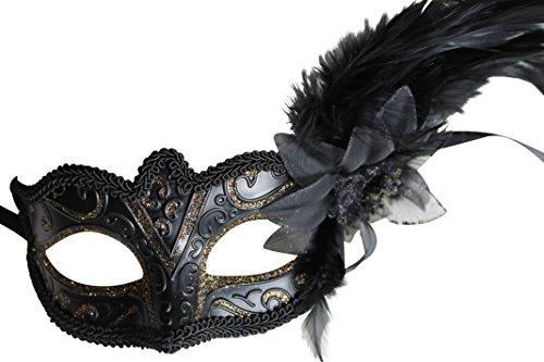 Damen Schwarze und Gold Funkelnd Venezianische Maskerade Karneval Maske mit Blumen und Federn