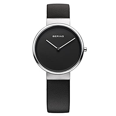 Bering Time - Reloj Analógico de Cuarzo para Mujer, correa de Cuero color Negro de Bering Time