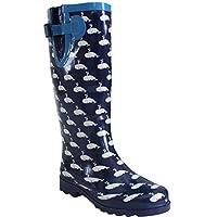 Ladies Womens New Wide Calf Adjustable Snow Rain Mud Festival Waterproof Wellington Boots Wellies UK 3-8 (Maximum Calf Width 42 cm) (UK 7, Whale Navy/White)