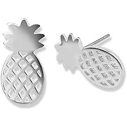 lunji piña Chips de orejas, clavo pendientes, pendientes de plata para hombre Mujer