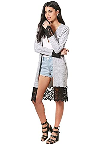 Grey Womens Harriet Lace Trim Fine Knit Maxi Kimono Cardigan - 12