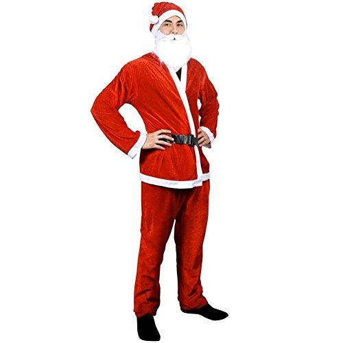 Costume da Babbo Natale, per adulti, da uomo, 5pezzi