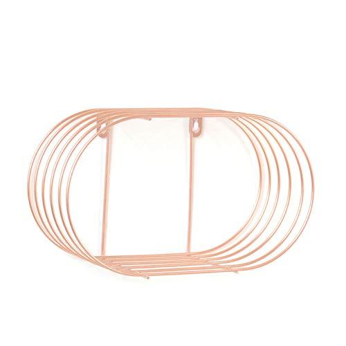 Jullyend - mensola da parete in ferro ovale, struttura in fil di ferro, per soggiorno, colore: nero rosa