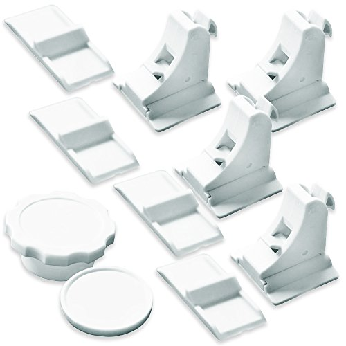 Preisvergleich Produktbild NEVEQ magnetische Kindersicherung für die Sicherung des Haushalts für Babys und Kinder (4 Sicherheitschlösser & 1 Schlüssel). Kein Werkzeug notwendig - einfache Anbringung an Küchenschubladen,  Schranktüren,  Kleiderschrank und Küchenschränken.