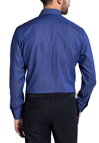 Eterna Long Sleeve Shirt Modern Fit Twill Structured Blu