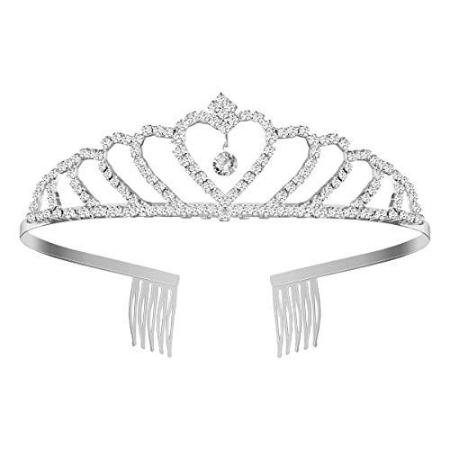 Pixnor Bling Bling tiara per cerimonia nuziale con Strass e diadema