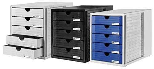 HAN Schubladenbox SYSTEMBOX 1450-13 in Schwarz - Ordnungsbox DIN A4 - Aufbewahrungsbox mit geschlossenen Schubladen