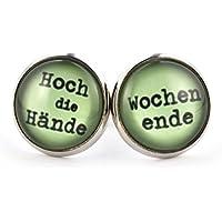 SCHMUCKZUCKER Damen Cabochon Ohrstecker mit Spruch Hoch die Hände - Wochenende witzige Modeschmuck Ohrringe silber-farben grün 14mm