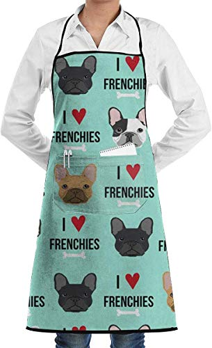 Louis Berry Frenchie Dog Fabric Grill Schürzes Kitchen Chef Bib - Professional for BBQ Baking -