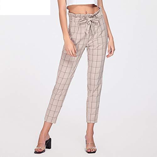 Belted Plaid Jeans (AKDYH Damen HosenBelted Hohe Taille Plaid Hosen FrauenElastischeTaillenhoseFrauen HerbstHosen Frauen, P839Khaki, L)