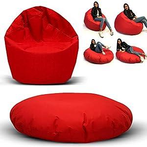 Sitzsack 2 in 1 Funktion mit Füllung Bag Sitzkissen Bodenkissen Kissen Sessel Sofa (145cm Durchmesser, Grau)