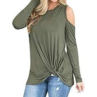 MOIKA Damen Tank Tops,Frauen lässige solide, langärmelige Kalte Schulter Geknotet Saum T-Shirt Bluse Top preisvergleich bei billige-tabletten.eu