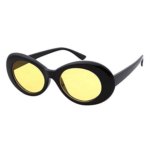 Moretime montature occhiali donna, retrò vintage clout occhiali occhiali da sole unisex rapper ovale sfumature grunge occhiali (h)