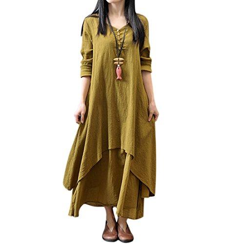 QIYUN.Z Vestito Lungo Irregolare Irregolare Dal Manicotto Lungo Della Biancheria Delle Donne Giallo
