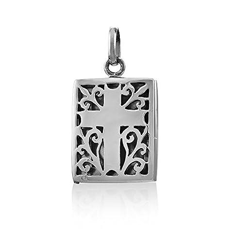 Withlovesilver Argent sterling 925antique découpé Boîte de prière Croix Médaillon pendentif