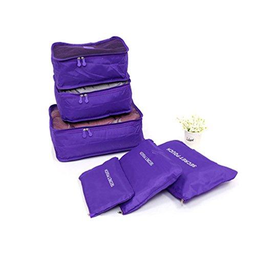 Albeey 6 Stück Kleidertaschen Set Kofferorganizer Packtaschen Rucksack Lila