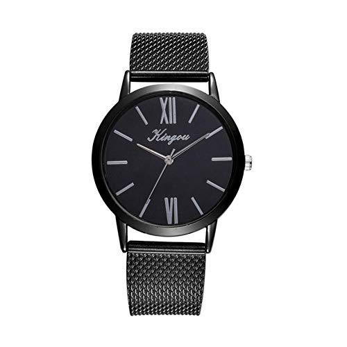 Art- und Weisefrauen-Armbanduhr-Goldsplitter-Ineinander greifen-Edelstahl passt Damen-Quarz-Armbanduhr-beiläufige Borduhr reloj Mujer # c, Rose auf