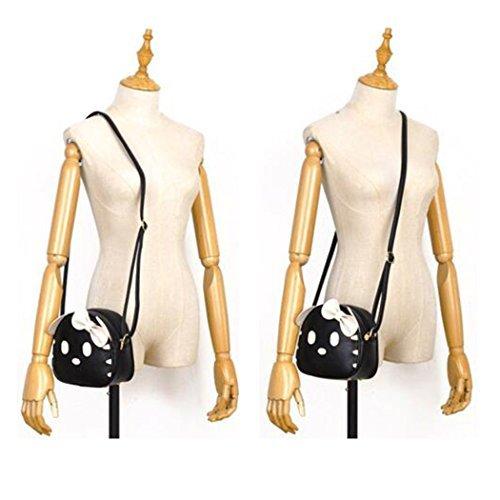FAIRYSAN gatto sveglio Orecchio cuoio di disegno di spalla animale personalità Mini Messenger Cross Body Bag (Red) nero