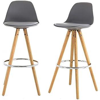 Lot de 2 Chaise de bar haute grise piétement chêne Circus-Lot de 2 ...