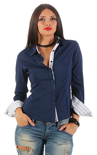 11248 Fashion4Young Damen Langarm Businessbluse Bluse Hemd Business Eleganz Hemdbluse (L=40, dunkelblau)