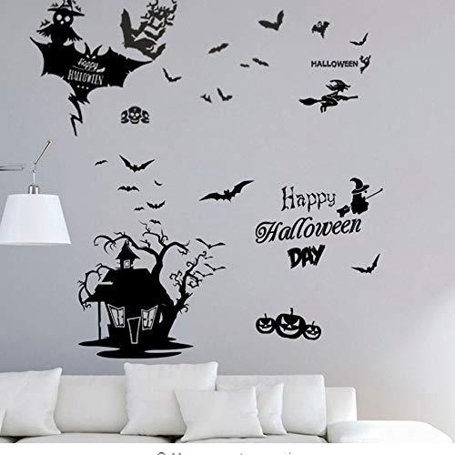 Finloveg Happy Halloween Hexe Geist Fledermaus Katze Wandaufkleber Für Wohnzimmer Fensterglas Lächeln Gesicht Decor Home Vinyl Wandbild Wandkunst Aufkleber (Halloween Diy Für Gesicht Katze)