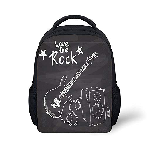 Kids School Backpack Guitar,Love The Rock Music Themed Sketch Art Sound Box and Text on Chalkboard Print Decorative,Dark Taupe White Plain Bookbag Travel Daypack