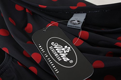 Aloha-Beachwear Polka Dots Vitage Look High Waisted Damen Neckholder Bikini A1061, gepunktet (M / 38 / UK 12, Schwarz / Rot) -