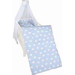 roba Kinder-Bettgarnitur 4-tlg, Babybett-Ausstattung 'Kleine Wolke blau'