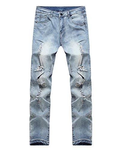 Herren Sehr Enge Jeans mit großen Rissen am Knie in Mittelblau Blau
