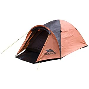 Trespass Tarmachan, Sunset, 2 PersonTent 285cm x 150cm x 115cm / 3kg / Waterproof / Fire Retardant, Orange