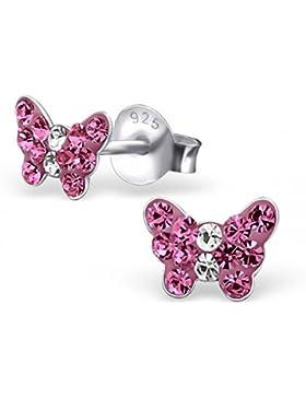 Unbespielt Schmuck Ohrschmuck Ohrringe Silber 925 Ohrstecker Schmetterling klein für Damen oder Kinder 6 x 5 mm...
