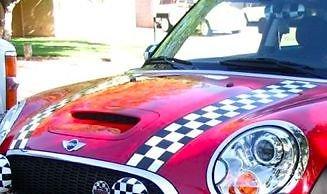 Bandes capot damier Bmw Mini R55 R56 Cooper S + D Chequered Bonnet Stripes