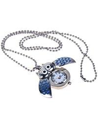Gleader Plata Y Azul Mini Buho Reloj De Bolsillo Del Collar