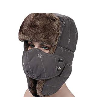 AMAKU Winter Trapper Hut mit Gesichtsmaske Pelz Ohrenklappen Trooper Outdoor Windproof Uschanka Hut für Männer und Frauen