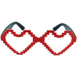 Old School Games Herz Sonnenbrille 8Bit Look Partybrille Herzbrille 8BH (Nerdbrille rot)