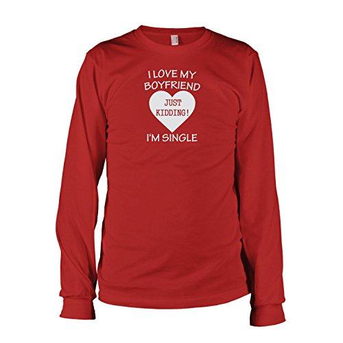 TEXLAB - I'm Single - Langarm T-Shirt Rot