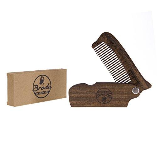 hochwertiger klappbarer Bartkamm Taschenkamm aus Sandelholz zur täglichen Bartpflege für jeden Barttyp (Schnurrbart Vollbart Braun Und)
