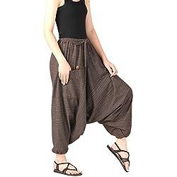 CandyHusky Telas a rayas de Algodón Unisex Holgada Hippie Boho Aladdin Yoga Harem Pantalones (Marrón)